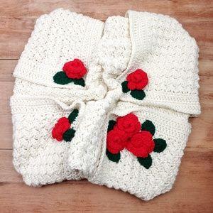 Vintage | Crochet Rose Baby Blanket